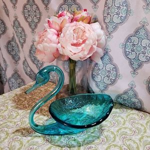 Teal Crystal Swan Bowl